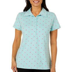 Gloria Vanderbilt Womens Annie Flamingo Print Polo Shirt