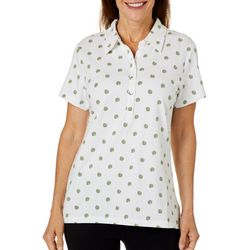 Gloria Vanderbilt Womens Annie Palm Leaf Print Polo Shirt