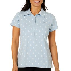 Gloria Vanderbilt Womens Annie Puppy Print Polo Shirt