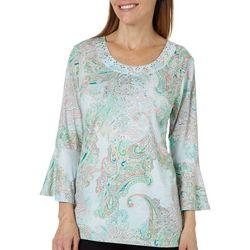 Gloria Vanderbilt Womens Vivika Embellished Paisley Top