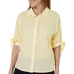 Gloria Vanderbilt Womens Valentina Gingham Tie Sleeve Top