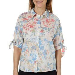 Gloria Vanderbilt Womens Valentina Floral Tie Sleeve Top