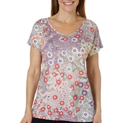 Gloria Vanderbilt Womens Opal Wonderland Embellished Top