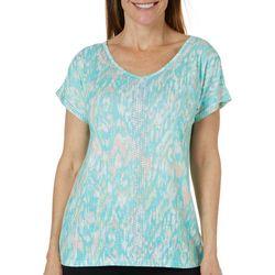 Gloria Vanderbilt Womens Opal Ikat Print Embellished Top