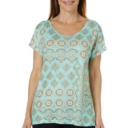 Gloria Vanderbilt Womens Opal Festival Print Embellished Top