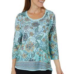 Gloria Vanderbilt Womens Laney Floral Embellished Top