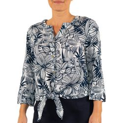 Hearts of Palm Womens Stripes and Sails Hibiscus Top