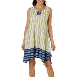 Hearts of Palm Womens Stripes & Sails Rope Print Dress