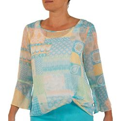 Hearts of Palm Womens Lighten The Mood Patchwork Top
