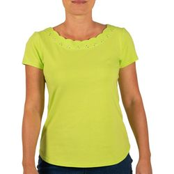 Hearts of Palm Womens Color Binge Scalloped Top