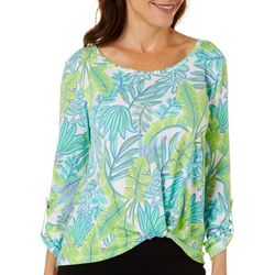 Hearts of Palm Womens Color Binge Leaf Print Twist Front Top