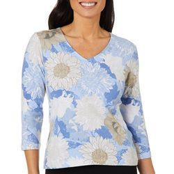 Hearts of Palm Womens Sunflower Print V-Neck Top