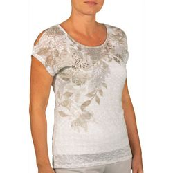 Hearts of Palm Womens Stay Neutral Embellished Burnout Top