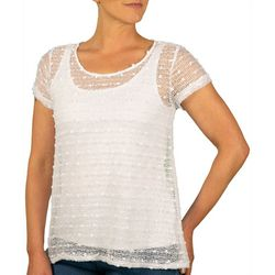 Hearts of Palm Womens Stay Neutral Solid Textured Top