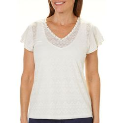 Hearts of Palm Womens Tribal Matters Geometric Ruffle Top