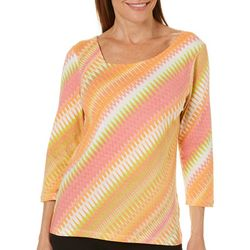 Hearts of Palm Womens Tribal Matters Pointed Striped Top