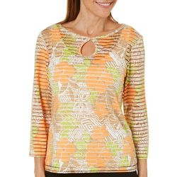 Hearts of Palm Womens Tribal Matters Striped Floral Top