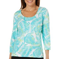 Hearts of Palm Womens Must Haves Palm Leaf Print Top