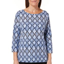 Hearts of Palm Womens Must Haves Geometric Snake Print Top