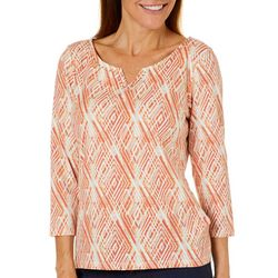 Hearts of Palm Womens Must Haves III Diamond Print Top