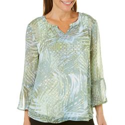 Hearts of Palm Womens Island Treasures Sheer Tropical Top