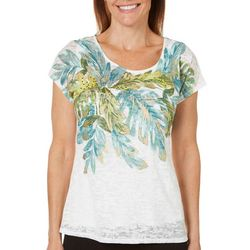 Hearts of Palm Womens Island Treasures Embellished Leaf Top