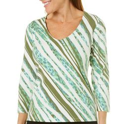 Hearts of Palm Womens Island Treasures Diagonal Stripes Top