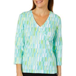 Hearts of Palm Womens Must Haves Paint Print Faux-Wrap Top