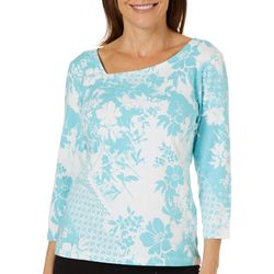 Hearts of Palm Womens Essentials Tropical Floral Top