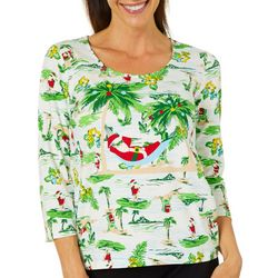 Hearts of Palm Womens Must Haves Santa Beach Scene Top