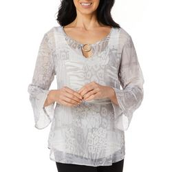 Hearts of Palm Womens Steeling The Scene Bell Sleeve Top