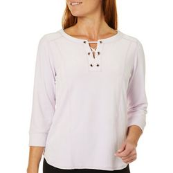 Hearts of Palm Womens Steeling The Scene Solid Velour Top