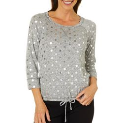 Hearts of Palm Womens Steeling The Scene Dot Tie Front Top