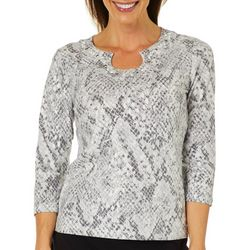 Hearts of Palm Womens Steeling The Scene Snake Print Top