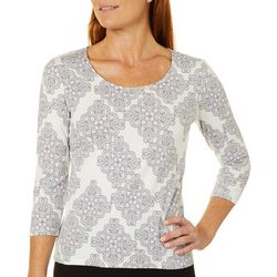 Hearts of Palm Womens Steeling The Scene Tile Print Top