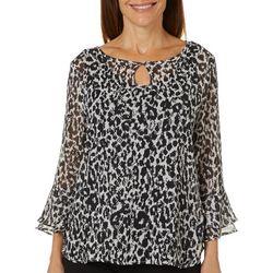 Hearts of Palm Womens Rue De La Ruby Cheetah Bell Sleeve Top
