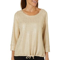 Hearts of Palm Womens Rue De La Ruby Foil Pull Over Top