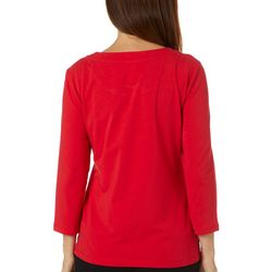 Hearts of Palm Womens Rue De La Ruby Solid Twist Neck Top