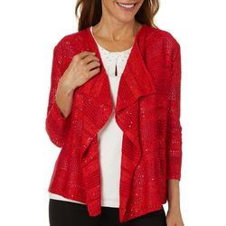 Hearts of Palm Womens Rue De La Rue Solid Sequin Cardigan
