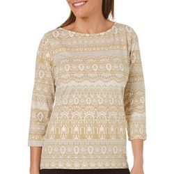 Hearts of Palm Womens Essentials Damask Print Top