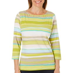 Hearts of Palm Womens Essentials Paint Stripe Print Top