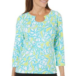 Hearts of Palm Womens Essentials Floral Horseshoe Neck Top