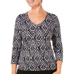 Hearts of Palm Womens Essentials Ikat Print Top