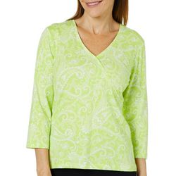 Hearts of Palm Womens Must Haves III Paisley Faux-Wrap Top