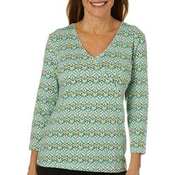 Hearts of Palm Womens Printed Essentials Tile Print Top