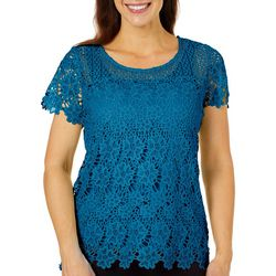 Hearts of Palm Womens Global Soul Floral Lace Top