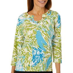 Hearts of Palm Womens Global Soul Mixed Animal Print Top