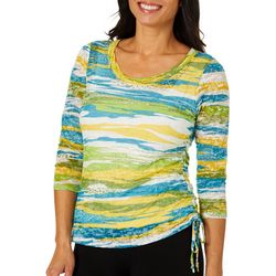 Hearts of Palm Womens Global Soul Striped Ruched Top