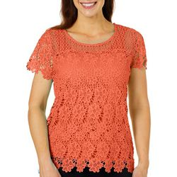 Hearts of Palm Womens Off Tropic Floral Lace Top