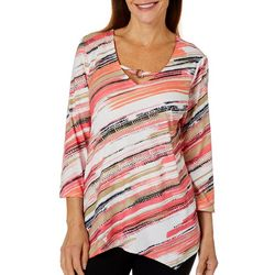 Hearts of Palm Womens Off Tropic Diagonal Stripe Top